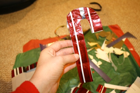 Candy Cane made from old wrapping paper