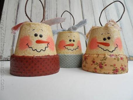 Snow men made from...vintage clay pots