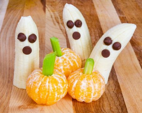 Banana-ghosts-orange-pumpkins